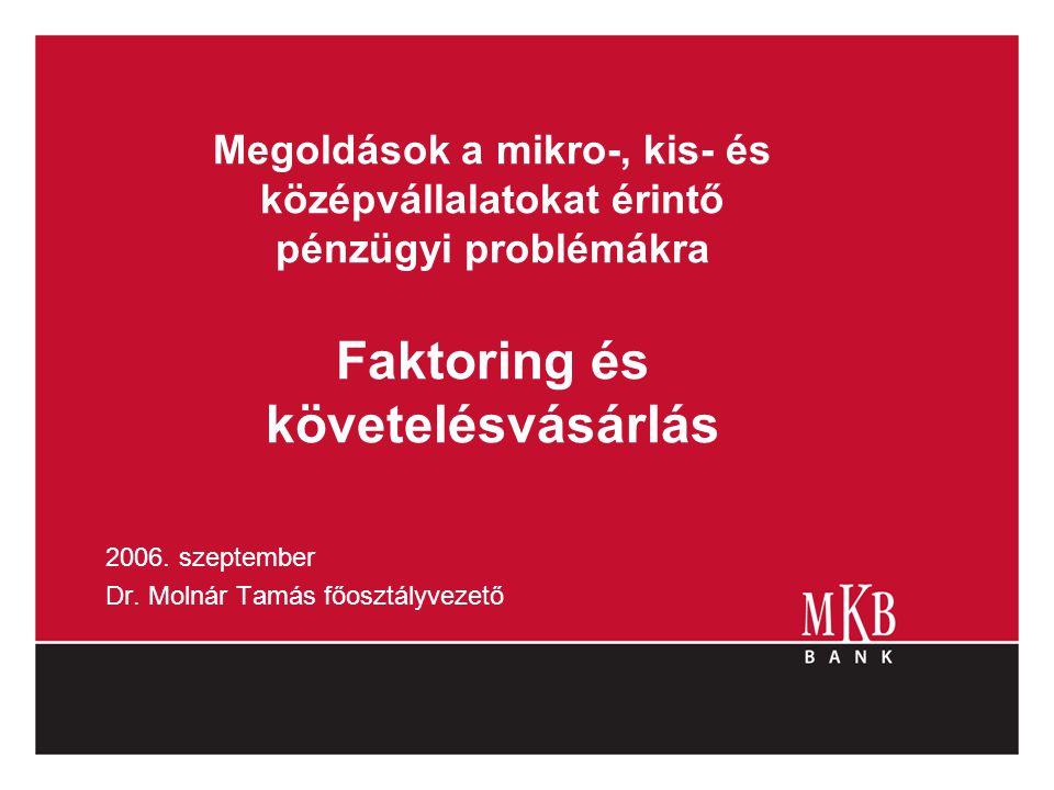 Megoldások a mikro-, kis- és középvállalatokat érintő pénzügyi problémákra Faktoring és követelésvásárlás 2006. szeptember Dr. Molnár Tamás főosztályv