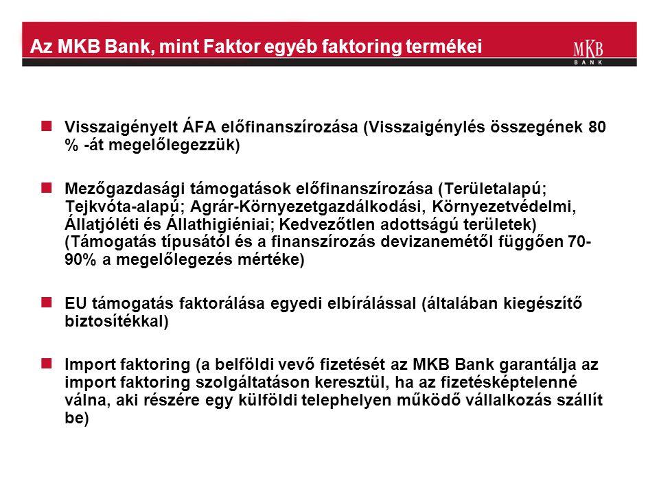 Az MKB Bank, mint Faktor egyéb faktoring termékei  Visszaigényelt ÁFA előfinanszírozása (Visszaigénylés összegének 80 % -át megelőlegezzük)  Mezőgaz