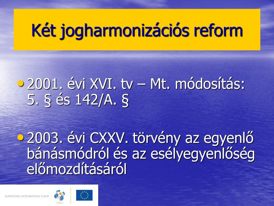 Két jogharmonizációs reform • 2001. évi XVI. tv – Mt. módosítás: 5. § és 142/A. § • 2003. évi CXXV. törvény az egyenlő bánásmódról és az esélyegyenlős