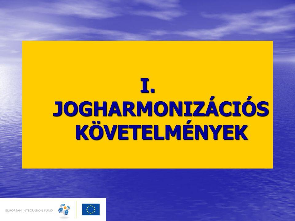 I. JOGHARMONIZÁCIÓS KÖVETELMÉNYEK