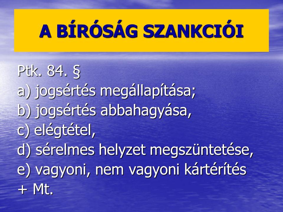 A BÍRÓSÁG SZANKCIÓI Ptk.84.
