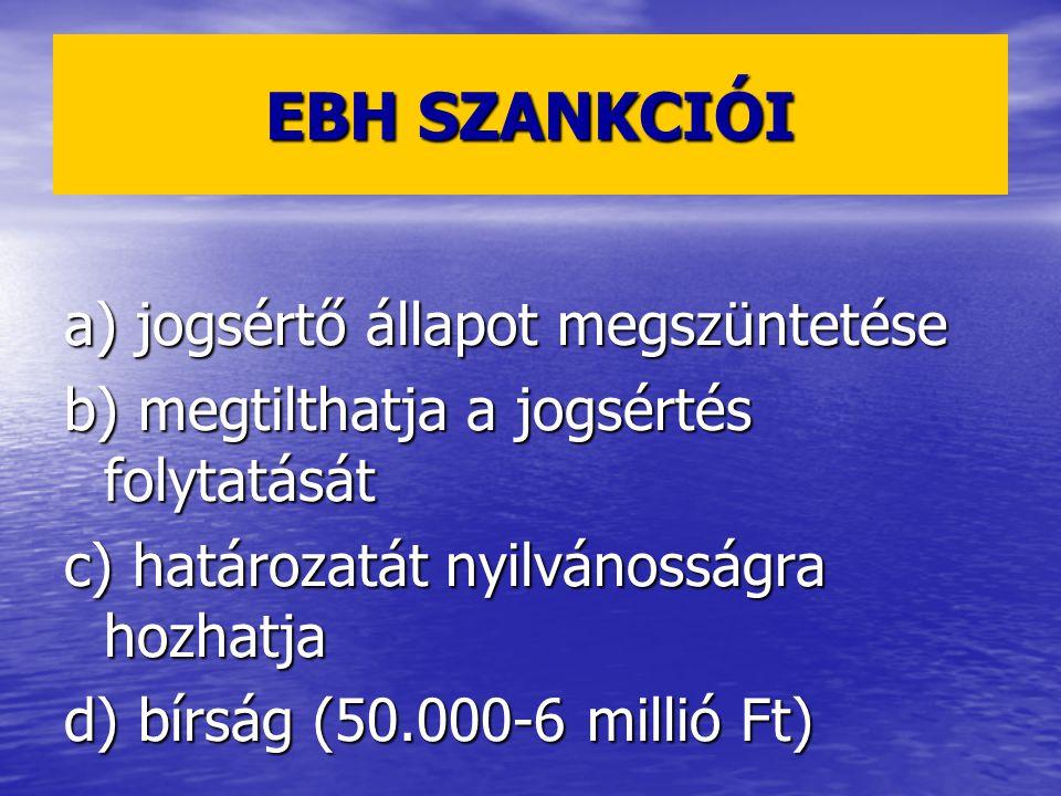 EBH SZANKCIÓI a) jogsértő állapot megszüntetése b) megtilthatja a jogsértés folytatását c) határozatát nyilvánosságra hozhatja d) bírság (50.000-6 millió Ft)