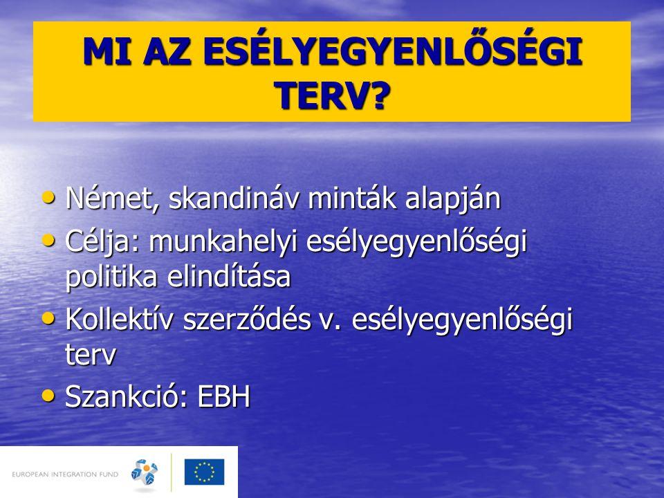 MI AZ ESÉLYEGYENLŐSÉGI TERV? • Német, skandináv minták alapján • Célja: munkahelyi esélyegyenlőségi politika elindítása • Kollektív szerződés v. esély