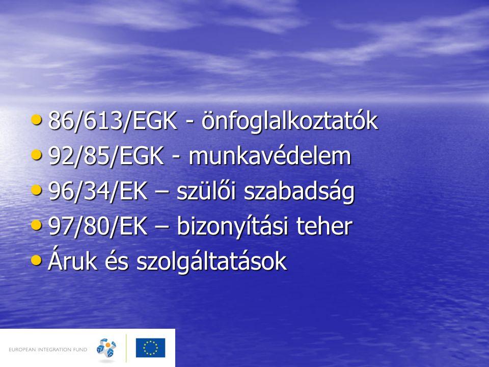 ÁLTALÁNOS IRÁNYELVEK • 2000/43/EK – faji irányelv • 2000/78/EK – keret-irányelv