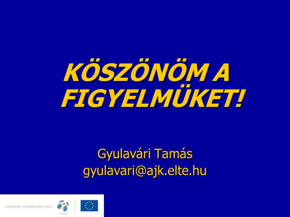 KÖSZÖNÖM A FIGYELMÜKET! Gyulavári Tamás gyulavari@ajk.elte.hu