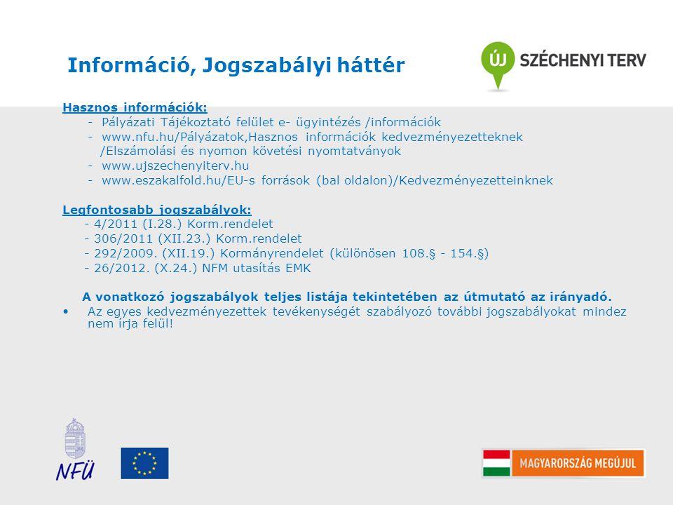 Információ, Jogszabályi háttér Hasznos információk: - Pályázati Tájékoztató felület e- ügyintézés /információk - www.nfu.hu/Pályázatok,Hasznos informá