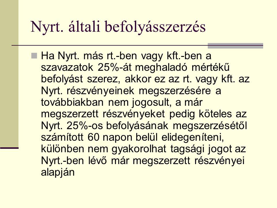 Nyrt.általi befolyásszerzés  Ha Nyrt.