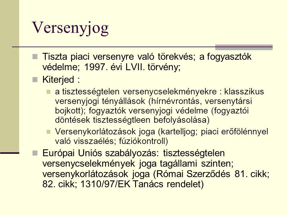 Versenyjog  Tiszta piaci versenyre való törekvés; a fogyasztók védelme; 1997.