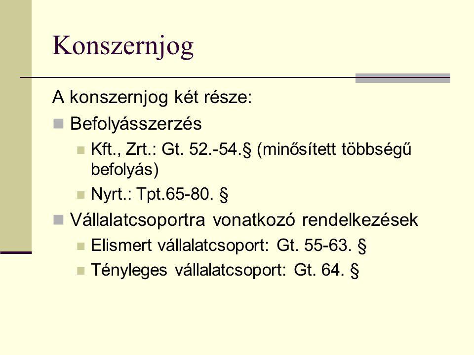 Konszernjog A konszernjog két része:  Befolyásszerzés  Kft., Zrt.: Gt.
