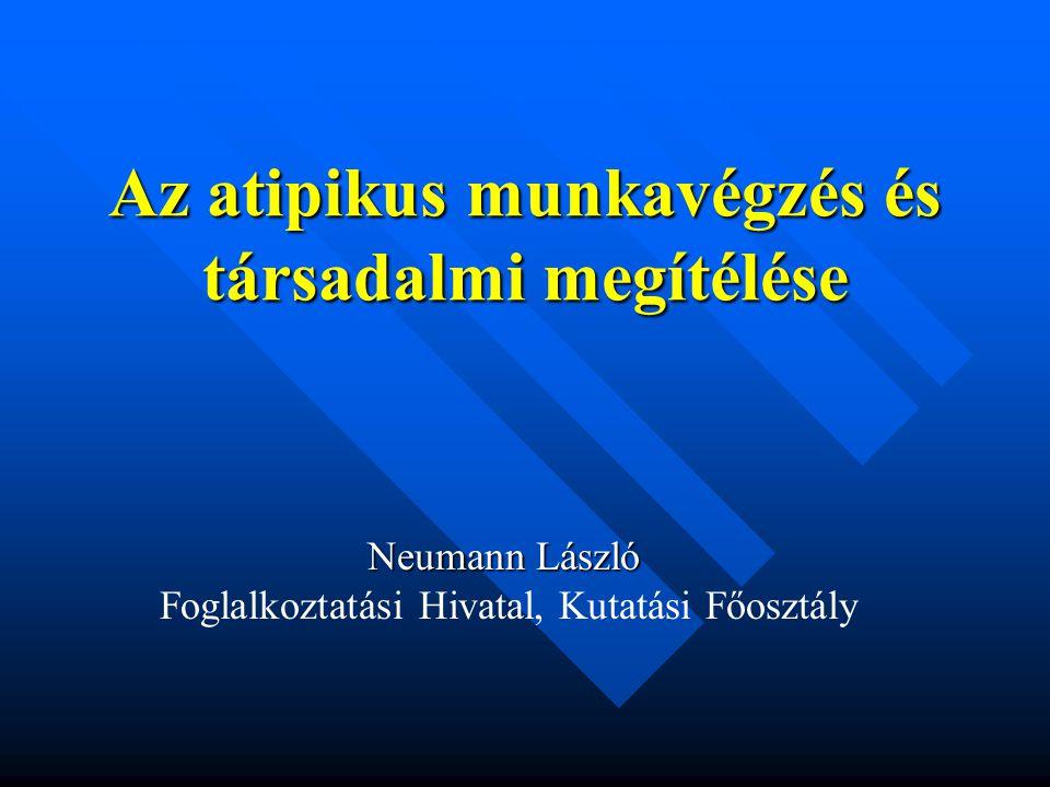 Az atipikus munkavégzés és társadalmi megítélése Neumann László Foglalkoztatási Hivatal, Kutatási Főosztály