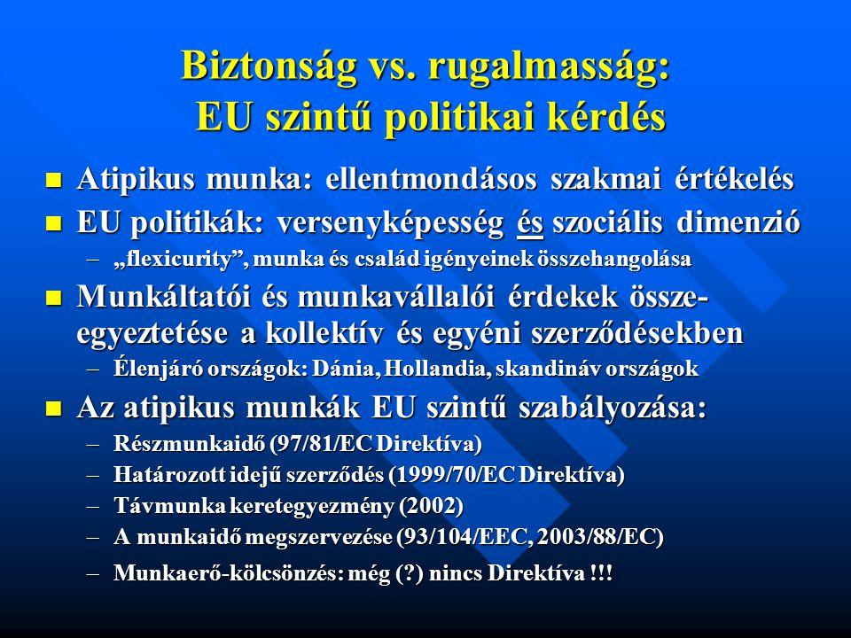 Biztonság vs. rugalmasság: EU szintű politikai kérdés  Atipikus munka: ellentmondásos szakmai értékelés  EU politikák: versenyképesség és szociális