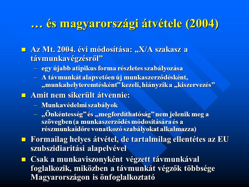 """… és magyarországi átvétele (2004)  Az Mt. 2004. évi módosítása: """"X/A szakasz a távmunkavégzésről"""" –egy újabb atipikus forma részletes szabályozása –"""