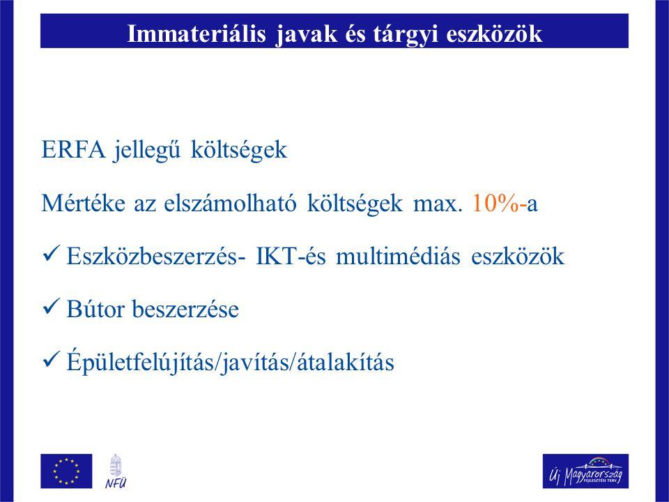 Immateriális javak és tárgyi eszközök ERFA jellegű költségek Mértéke az elszámolható költségek max. 10%-a  Eszközbeszerzés- IKT-és multimédiás eszköz