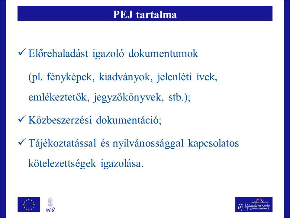 PEJ tartalma  Előrehaladást igazoló dokumentumok (pl. fényképek, kiadványok, jelenléti ívek, emlékeztetők, jegyzőkönyvek, stb.);  Közbeszerzési doku