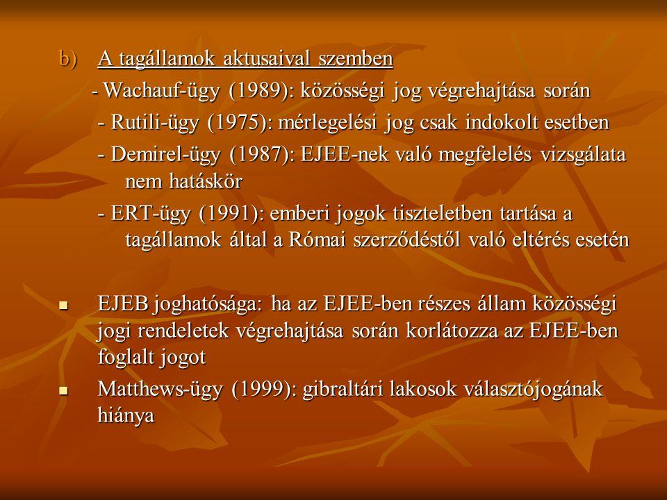 b)A tagállamok aktusaival szemben - Wachauf-ügy (1989): közösségi jog végrehajtása során - Rutili-ügy (1975): mérlegelési jog csak indokolt esetben - Rutili-ügy (1975): mérlegelési jog csak indokolt esetben - Demirel-ügy (1987): EJEE-nek való megfelelés vizsgálata nem hatáskör - Demirel-ügy (1987): EJEE-nek való megfelelés vizsgálata nem hatáskör - ERT-ügy (1991): emberi jogok tiszteletben tartása a tagállamok által a Római szerződéstől való eltérés esetén - ERT-ügy (1991): emberi jogok tiszteletben tartása a tagállamok által a Római szerződéstől való eltérés esetén  EJEB joghatósága: ha az EJEE-ben részes állam közösségi jogi rendeletek végrehajtása során korlátozza az EJEE-ben foglalt jogot  Matthews-ügy (1999): gibraltári lakosok választójogának hiánya