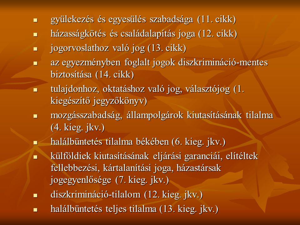  gyülekezés és egyesülés szabadsága (11.cikk)  házasságkötés és családalapítás joga (12.
