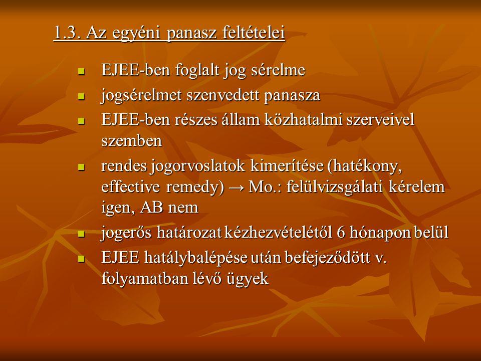 1.3. Az egyéni panasz feltételei  EJEE-ben foglalt jog sérelme  jogsérelmet szenvedett panasza  EJEE-ben részes állam közhatalmi szerveivel szemben