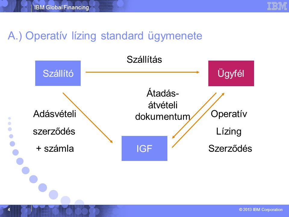 IBM Global Financing © 2013 IBM Corporation 4 A.) Operatív lízing standard ügymenete IGF Szállító Ügyfél Szállítás Átadás- átvételi dokumentum Operatív Lízing Szerződés Adásvételi szerződés + számla