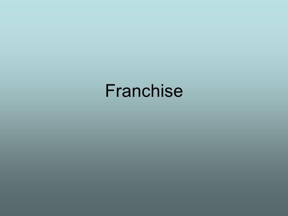 Franchise: polgárjogi szerződéssel létesített vállalkozási forma, amelyet független vállalkozók hoznak létre.
