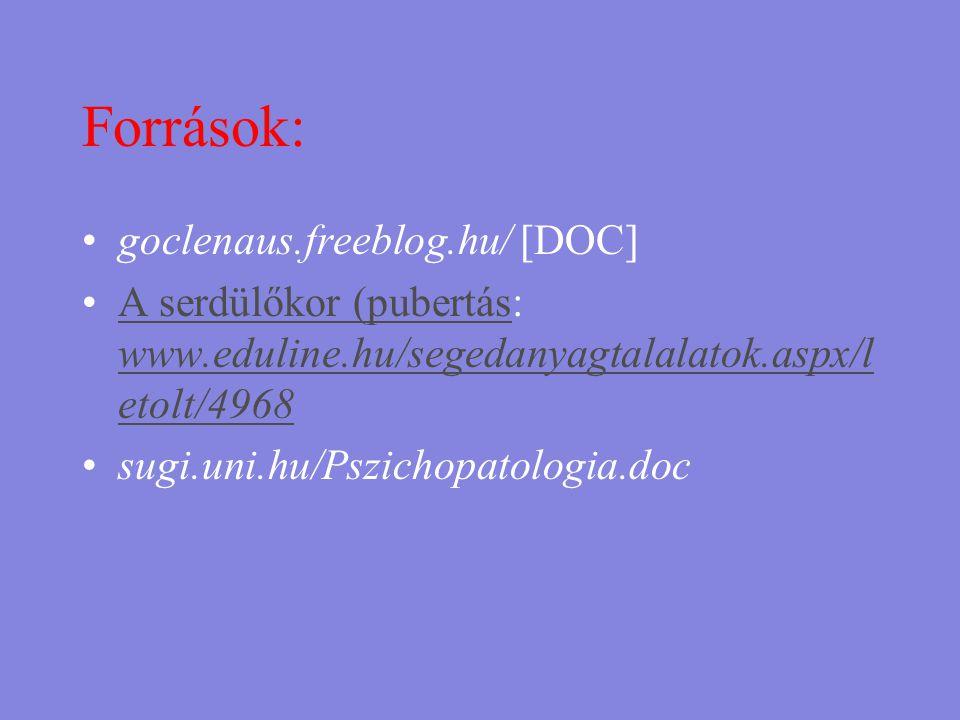 Források: •goclenaus.freeblog.hu/ [DOC] •A serdülőkor (pubertás: www.eduline.hu/segedanyagtalalatok.aspx/l etolt/4968A serdülőkor (pubertás www.edulin