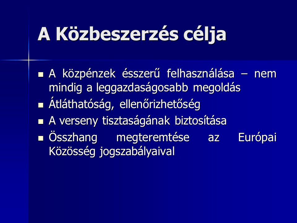 A Közbeszerzés célja  A közpénzek ésszerű felhasználása – nem mindig a leggazdaságosabb megoldás  Átláthatóság, ellenőrizhetőség  A verseny tisztaságának biztosítása  Összhang megteremtése az Európai Közösség jogszabályaival