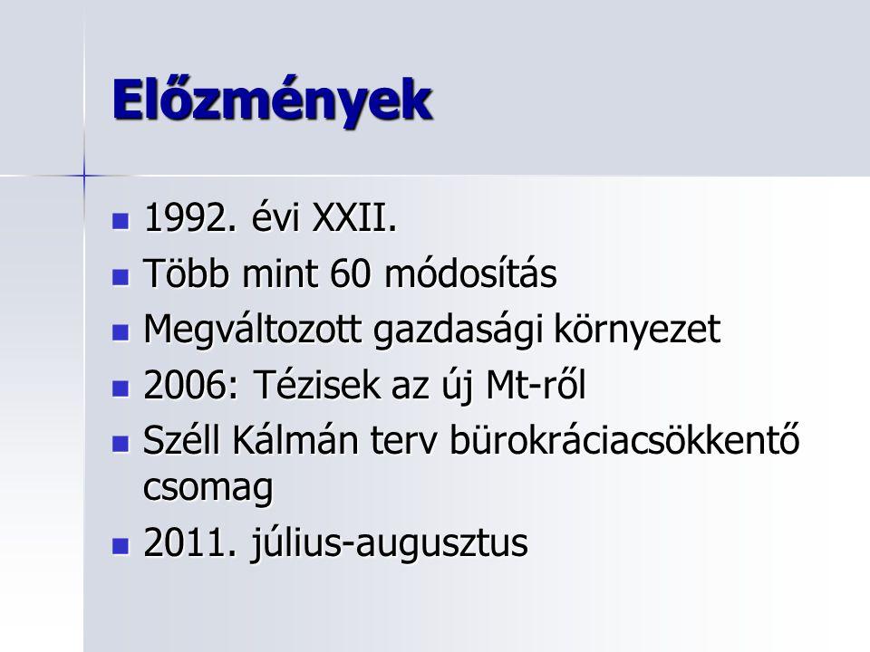 Előzmények  1992.évi XXII.