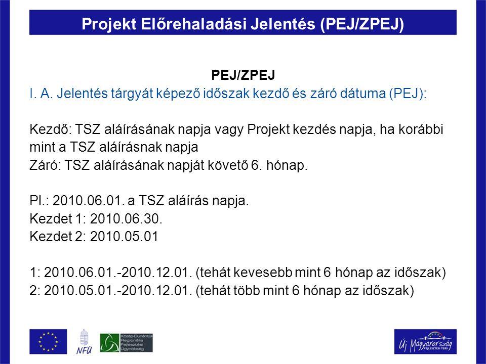 Projekt Előrehaladási Jelentés (PEJ/ZPEJ) PEJ/ZPEJ I. A. Jelentés tárgyát képező időszak kezdő és záró dátuma (PEJ): Kezdő: TSZ aláírásának napja vagy