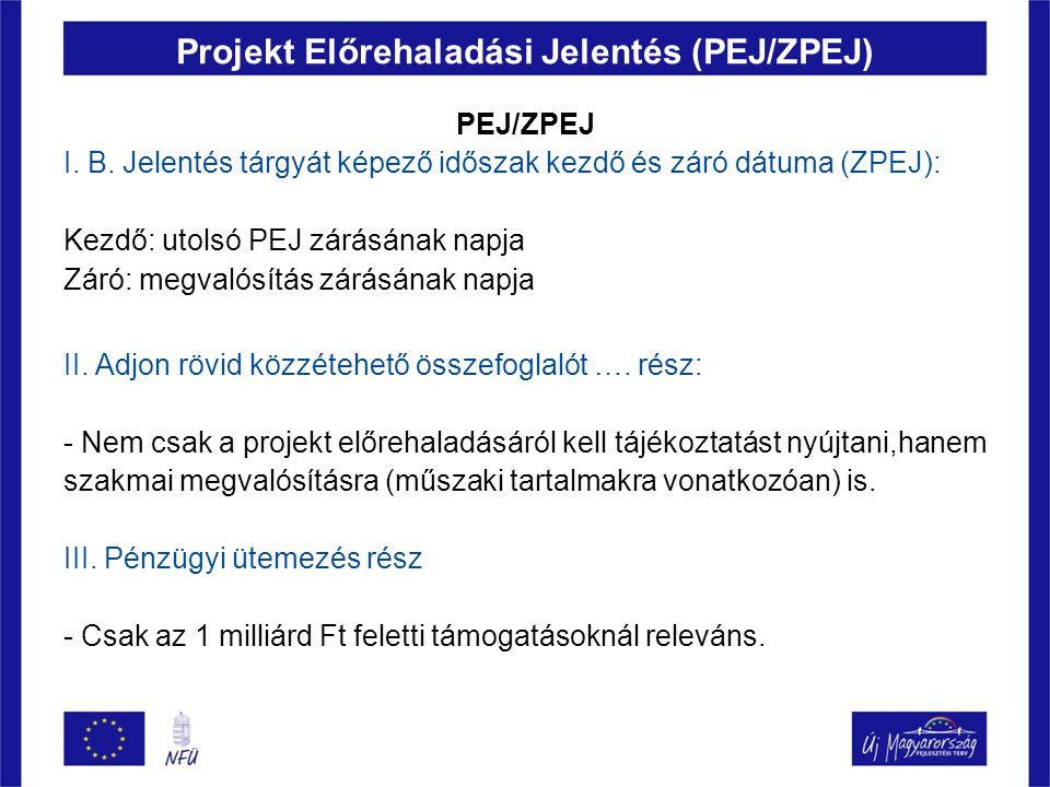 Projekt Előrehaladási Jelentés (PEJ/ZPEJ) PEJ/ZPEJ I. B. Jelentés tárgyát képező időszak kezdő és záró dátuma (ZPEJ): Kezdő: utolsó PEJ zárásának napj