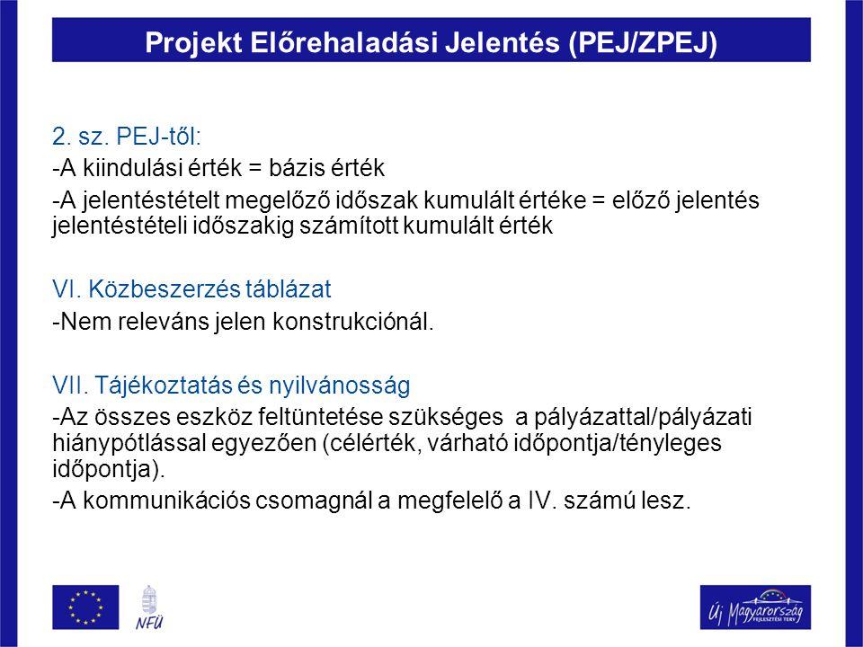 Projekt Előrehaladási Jelentés (PEJ/ZPEJ) 2. sz. PEJ-től: -A kiindulási érték = bázis érték -A jelentéstételt megelőző időszak kumulált értéke = előző