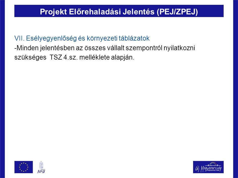 Projekt Előrehaladási Jelentés (PEJ/ZPEJ) VII. Esélyegyenlőség és környezeti táblázatok -Minden jelentésben az összes vállalt szempontról nyilatkozni