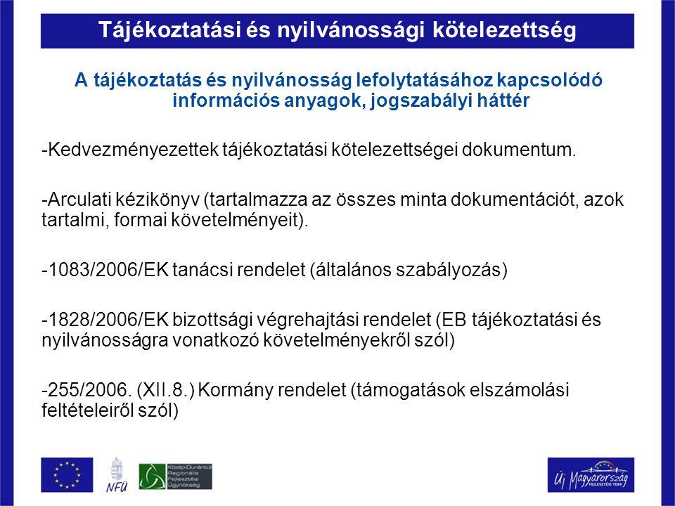 Tájékoztatási és nyilvánossági kötelezettség A tájékoztatás és nyilvánosság lefolytatásához kapcsolódó információs anyagok, jogszabályi háttér -Kedvez