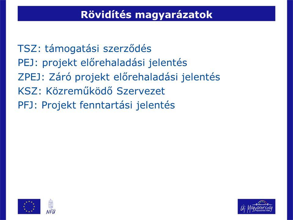 Rövidítés magyarázatok TSZ: támogatási szerződés PEJ: projekt előrehaladási jelentés ZPEJ: Záró projekt előrehaladási jelentés KSZ: Közreműködő Szerve