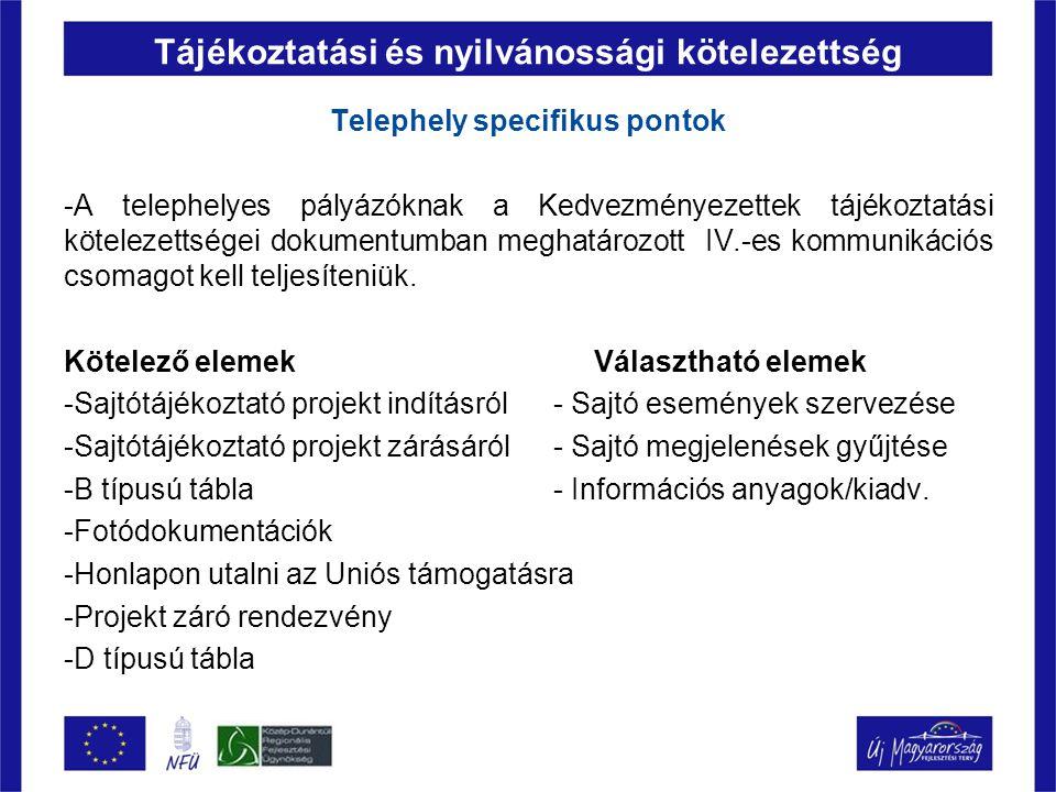 Tájékoztatási és nyilvánossági kötelezettség Telephely specifikus pontok -A telephelyes pályázóknak a Kedvezményezettek tájékoztatási kötelezettségei