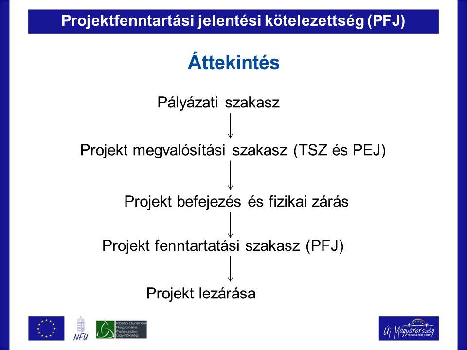Projektfenntartási jelentési kötelezettség (PFJ) Áttekintés Pályázati szakasz Projekt megvalósítási szakasz (TSZ és PEJ) Projekt fenntartatási szakasz