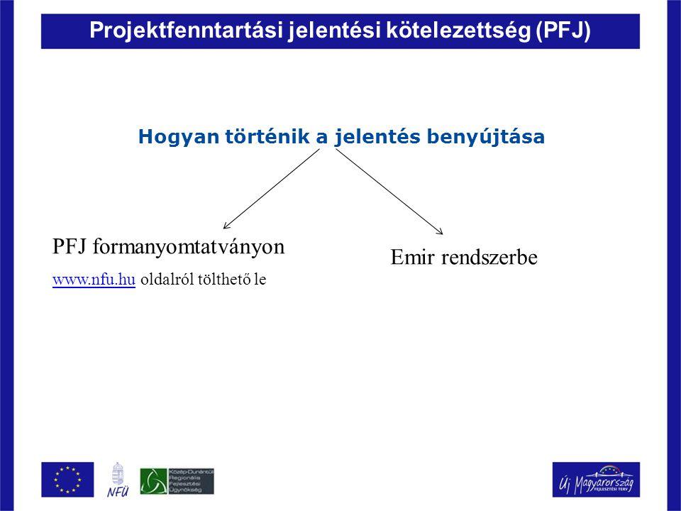 Projektfenntartási jelentési kötelezettség (PFJ) Hogyan történik a jelentés benyújtása PFJ formanyomtatványon www.nfu.huwww.nfu.hu oldalról tölthető l