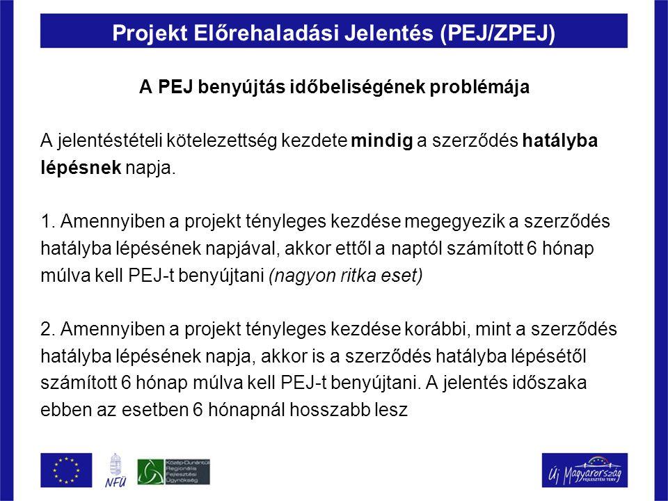 Projekt Előrehaladási Jelentés (PEJ/ZPEJ) A PEJ benyújtás időbeliségének problémája A jelentéstételi kötelezettség kezdete mindig a szerződés hatályba