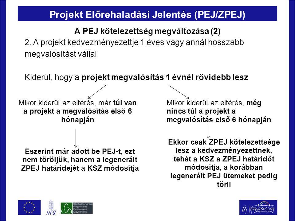 Projekt Előrehaladási Jelentés (PEJ/ZPEJ) A PEJ kötelezettség megváltozása (2) 2. A projekt kedvezményezettje 1 éves vagy annál hosszabb megvalósítást