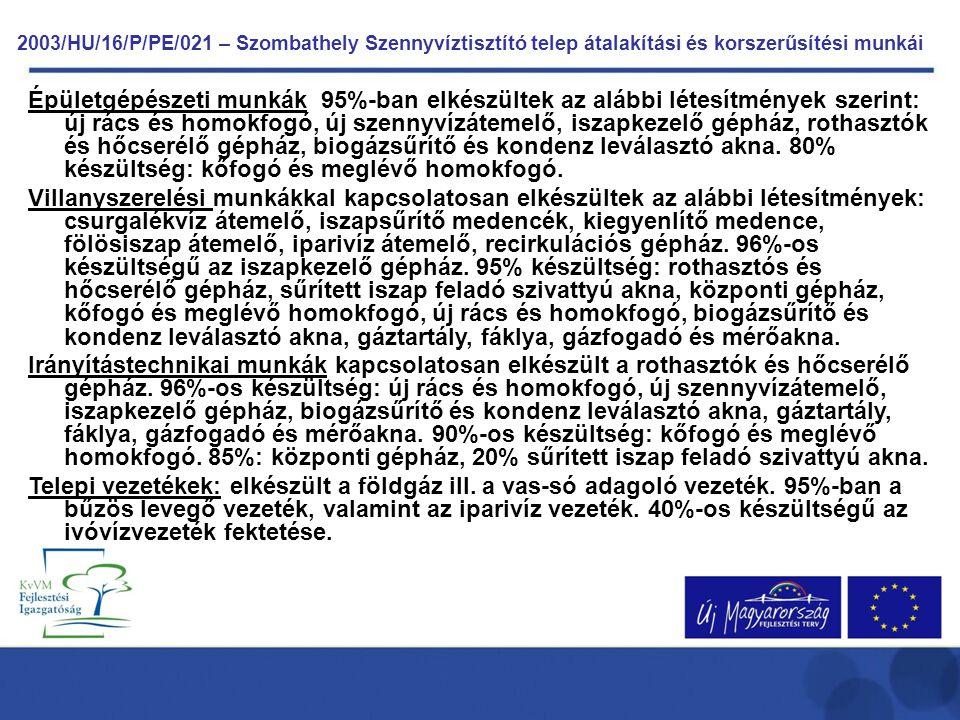 2003/HU/16/P/PE/021 – Szombathely Szennyvíztisztító telep átalakítási és korszerűsítési munkái Épületgépészeti munkák 95%-ban elkészültek az alábbi lé