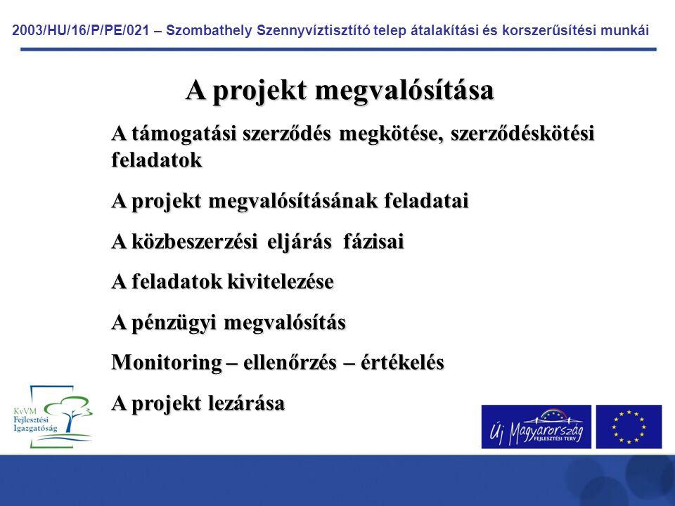 2003/HU/16/P/PE/021 – Szombathely Szennyvíztisztító telep átalakítási és korszerűsítési munkái A projekt megvalósítása A támogatási szerződés megkötés