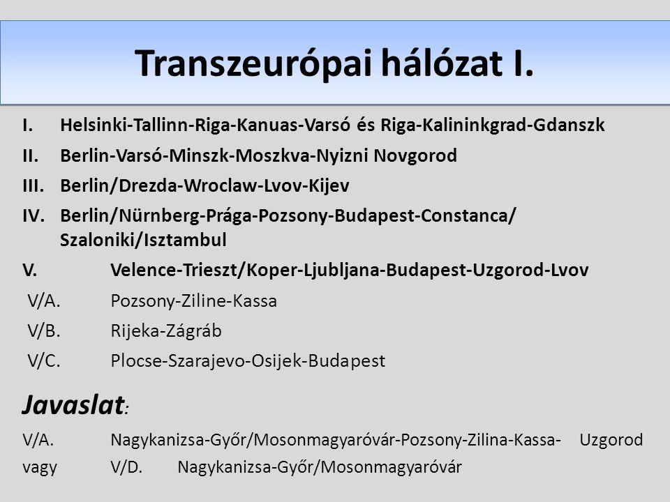 I.Helsinki-Tallinn-Riga-Kanuas-Varsó és Riga-Kalininkgrad-Gdanszk II.Berlin-Varsó-Minszk-Moszkva-Nyizni Novgorod III.Berlin/Drezda-Wroclaw-Lvov-Kijev