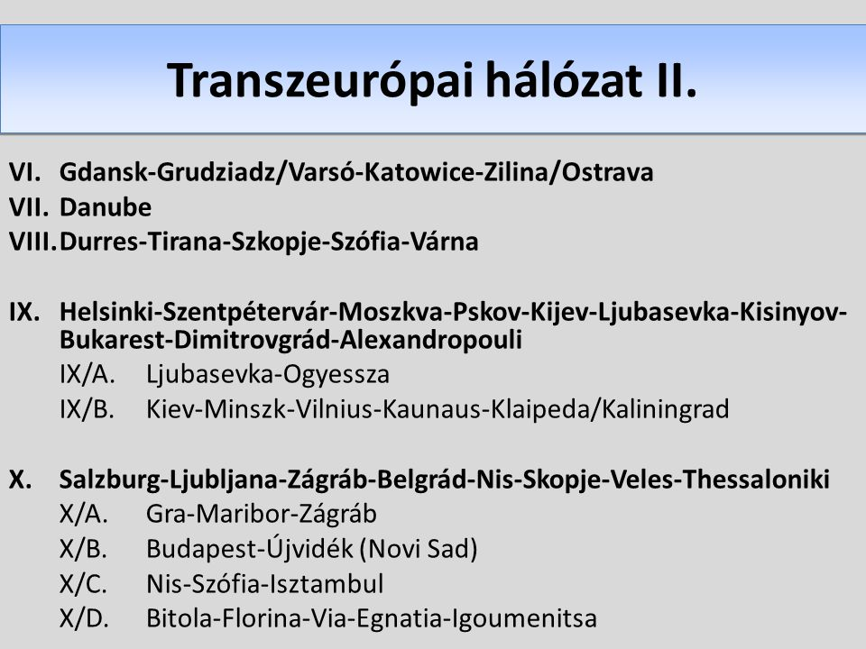 Transzeurópai hálózat II. VI.Gdansk-Grudziadz/Varsó-Katowice-Zilina/Ostrava VII.Danube VIII.Durres-Tirana-Szkopje-Szófia-Várna IX.Helsinki-Szentpéterv