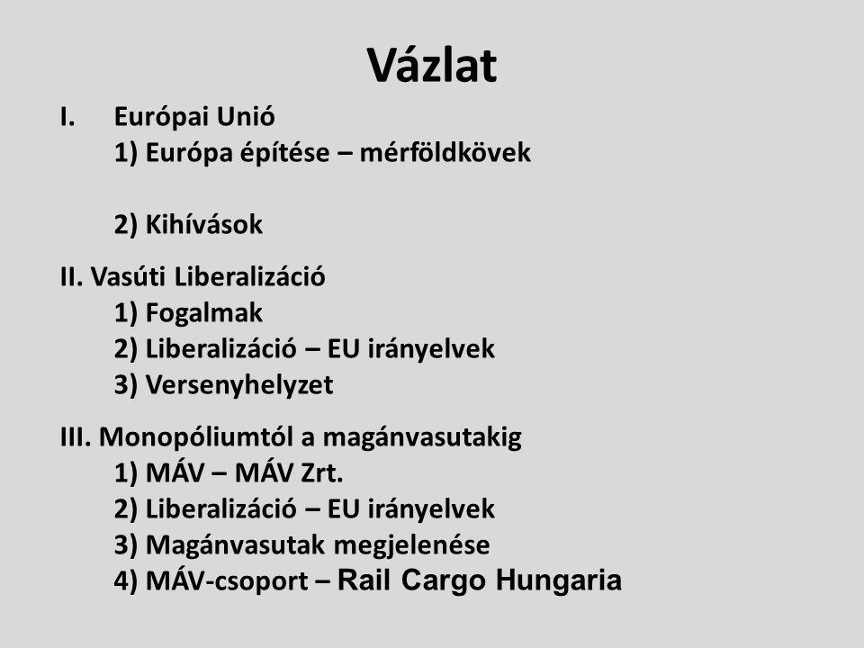 Vázlat I.Európai Unió 1) Európa építése – mérföldkövek 2) Kihívások II. Vasúti Liberalizáció 1) Fogalmak 2) Liberalizáció – EU irányelvek 3) Versenyhe
