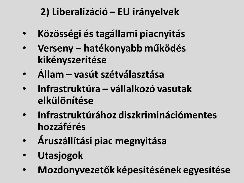 2) Liberalizáció – EU irányelvek • Közösségi és tagállami piacnyitás • Verseny – hatékonyabb működés kikényszerítése • Állam – vasút szétválasztása •