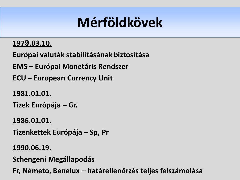 Mérföldkövek 197 9.03.10. Európai valuták stabilitásának biztosítása EMS – Európai Monetáris Rendszer ECU – European Currency Unit 1981.01.01. Tizek E