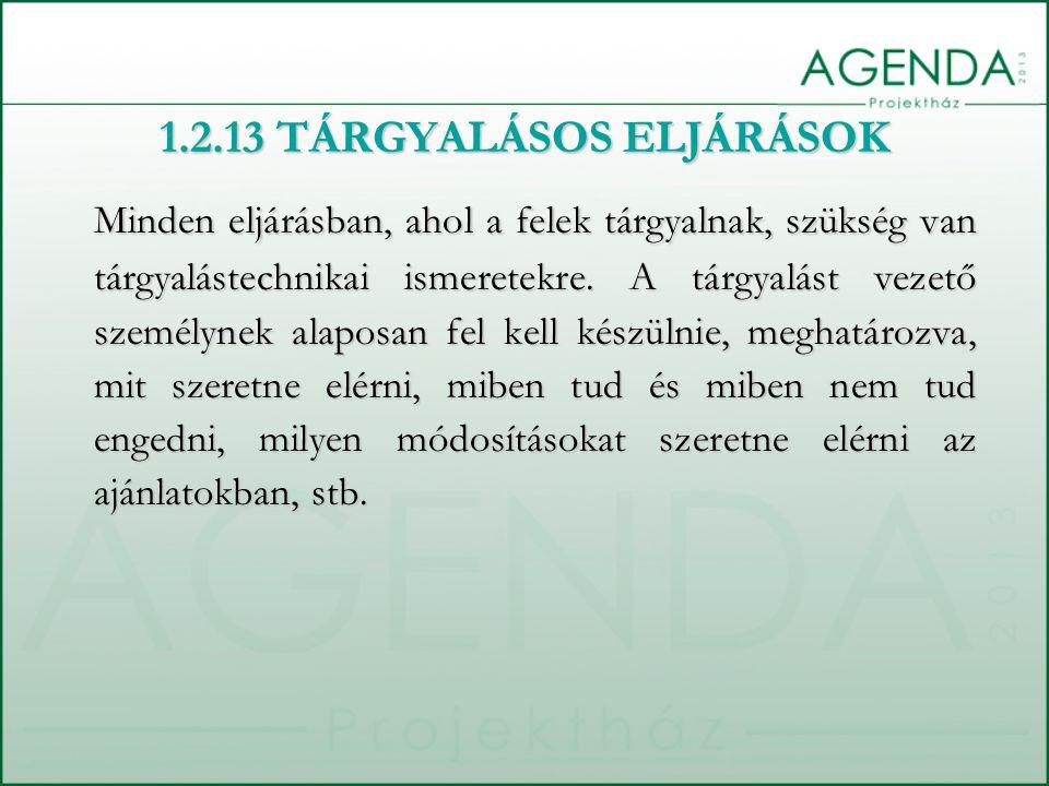 1.2.13 TÁRGYALÁSOS ELJÁRÁSOK Minden eljárásban, ahol a felek tárgyalnak, szükség van tárgyalástechnikai ismeretekre. A tárgyalást vezető személynek al