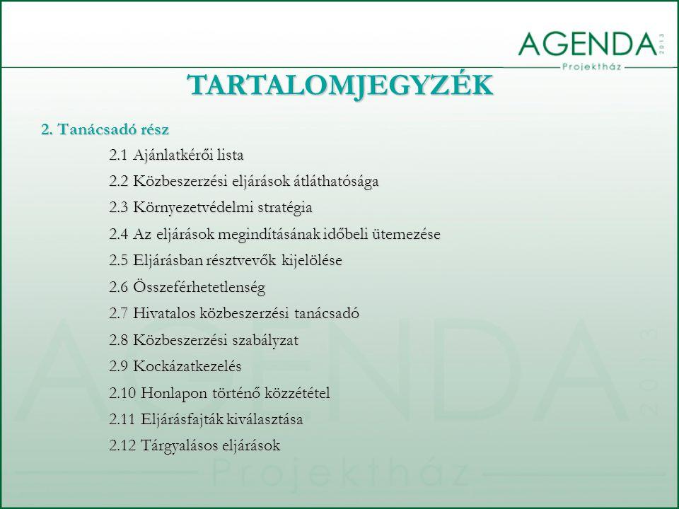 TARTALOMJEGYZÉK 2. Tanácsadó rész 2.1 Ajánlatkérői lista 2.1 Ajánlatkérői lista 2.2 Közbeszerzési eljárások átláthatósága 2.2 Közbeszerzési eljárások