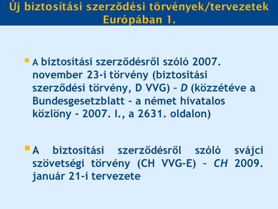 Új biztosítási szerz ő dési törvények/tervezetek Európában 1.