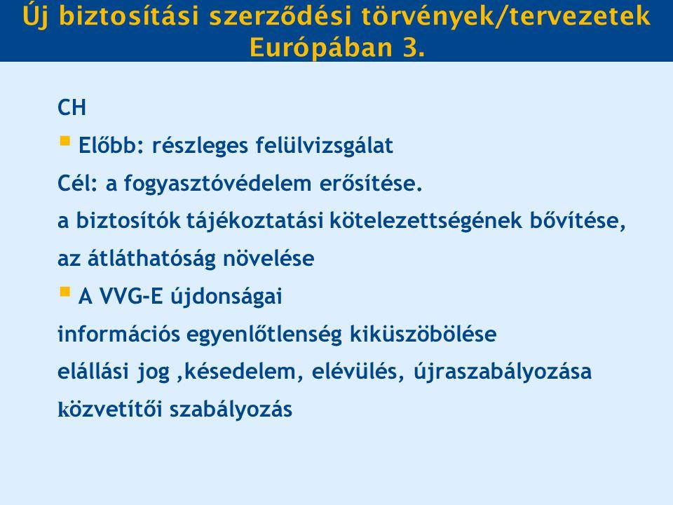 Új biztosítási szerz ő dési törvények/tervezetek Európában 3.