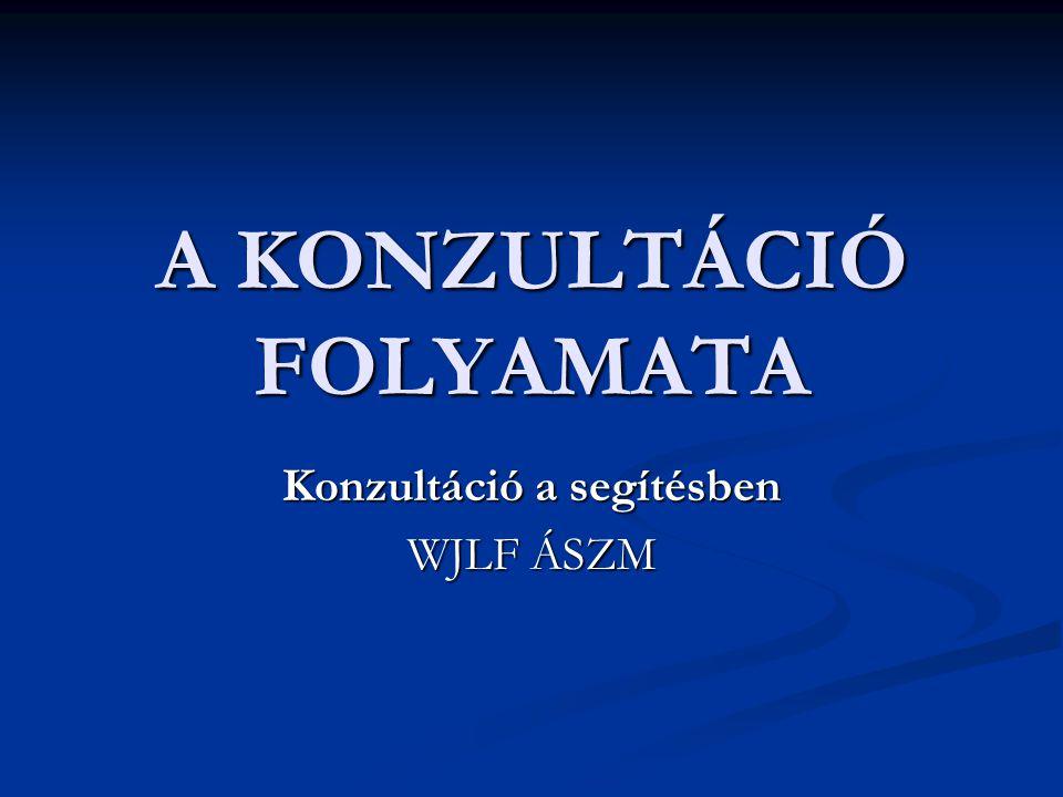 A KONZULTÁCIÓ FOLYAMATA Konzultáció a segítésben WJLF ÁSZM