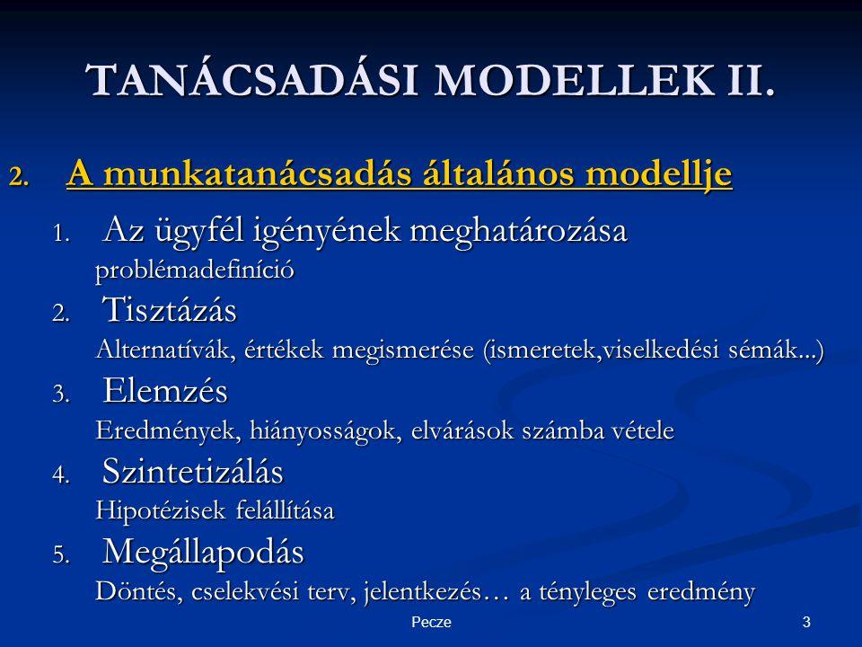 3Pecze TANÁCSADÁSI MODELLEK II. 2. A munkatanácsadás általános modellje 1.